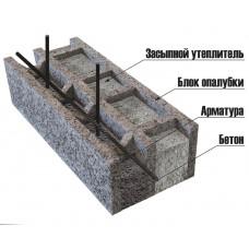 Перегородочный арболитовый блок размером 250х300х500 мм
